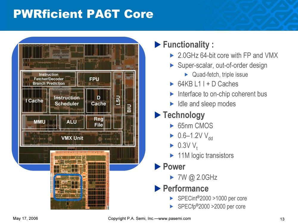 PA6T的核心架构